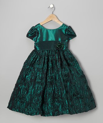 Green Crinkle Flower Dress - Girls