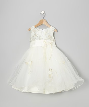 Ivory Glitter Flower Dress - Girls