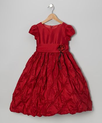 Red Rosette Dress - Girls
