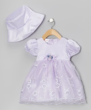 Lilac & White Flower Dress & Hat - Infant & Toddler