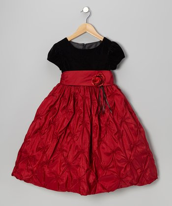Black & Red Flower Dress - Girls