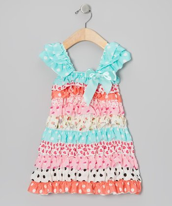 Pink & Blue Garden Party Cap-Sleeve Dress - Toddler & Girls