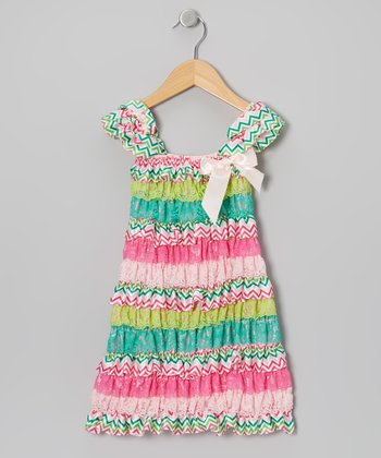 Watermelon Zigzag Cap-Sleeve Dress - Toddler & Girls