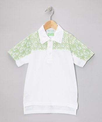 Green & White Retro Polo - Infant, Toddler & Boys