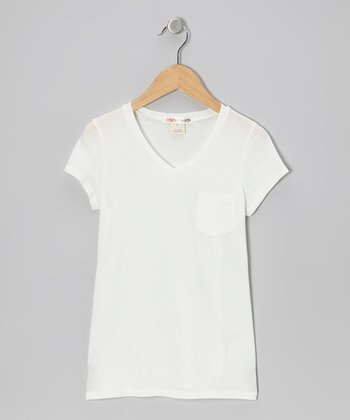 Floral White Boyfriend V-Neck Tee - Girls