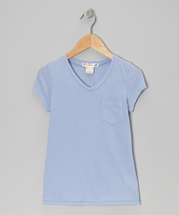 Sky Blue Boyfriend V-Neck Tee - Toddler & Girls