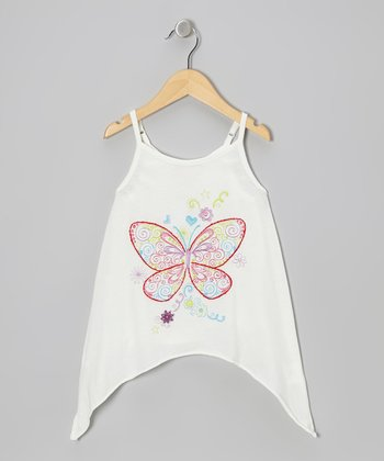 Floral White Butterfly Sidetail Tank - Toddler & Girls