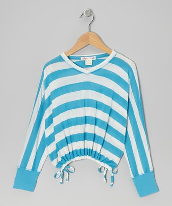Turquoise & White Stripe V-Neck Top - Toddler & Girls