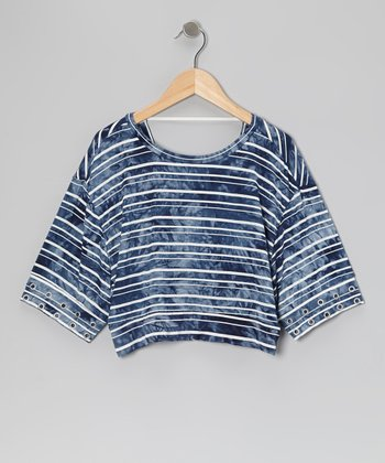Navy Beach Dolman Cropped Top - Toddler & Girls