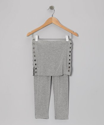 Heather Gray Grommet Skirted Leggings - Toddler & Girls