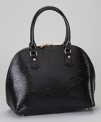 Black Textured Leather Satchel