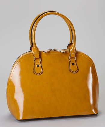 Camel Patent Leather Satchel