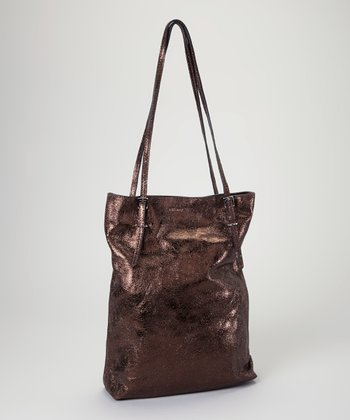 Coffee Metallic Leather Tote