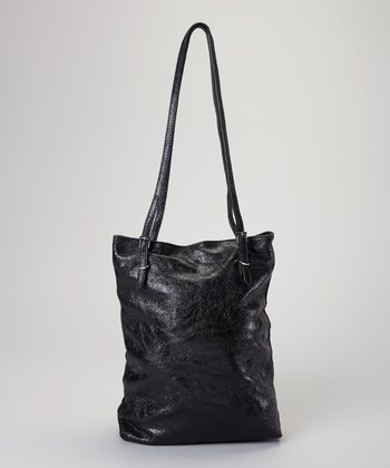 Black Metallic Leather Tote