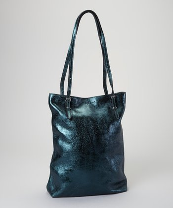 Green Metallic Leather Tote