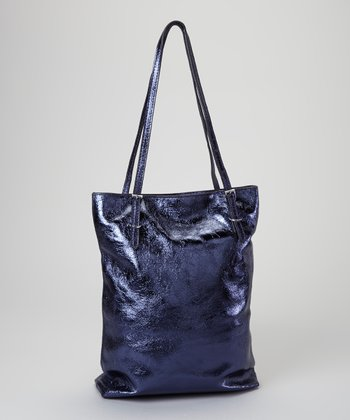 Blue Metallic Leather Tote