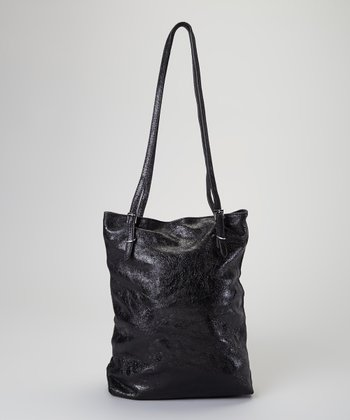 Black Embossed Leather Tote