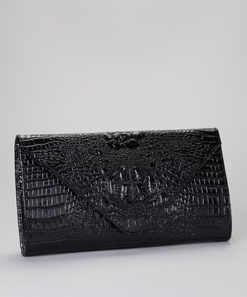 Black Alligator Embossed Clutch