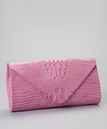 Pink Alligator Embossed Clutch