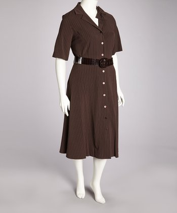 Chocolate & Tan Belted Dress - Plus