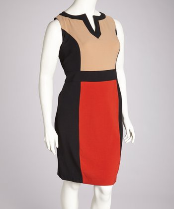 Spice & Black Color Block Dress - Plus