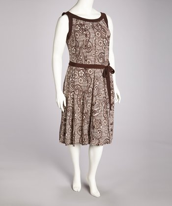 Brown & Cream Paisley Tie-Waist Dress - Plus