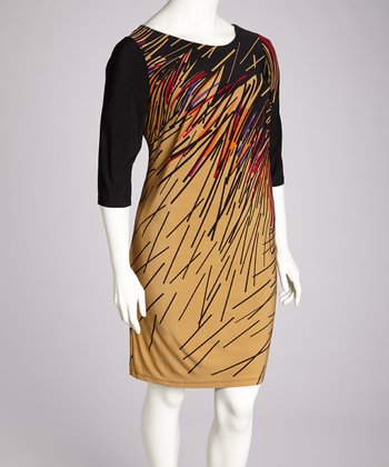 Camel & Black Abstract Dress - Plus