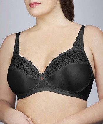 Black Lace-Trim Wireless Bra - Women & Plus