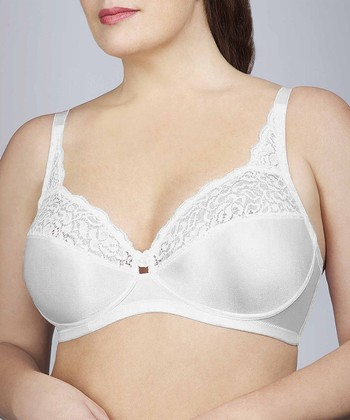 White Lace-Trim Wireless Bra - Women & Plus
