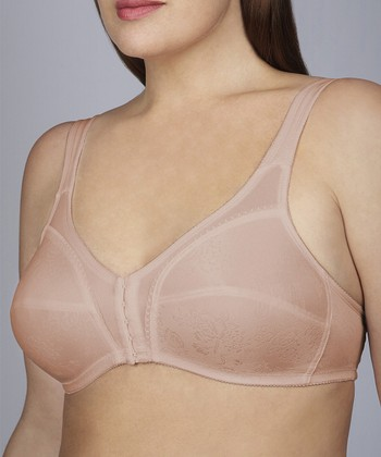 Taupe Flower Wireless Bra - Plus