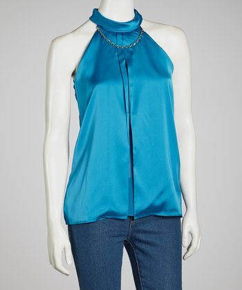 Blue Chain Sleeveless Top