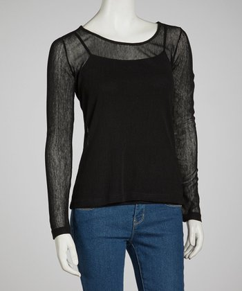 Black Sheer Long-Sleeve Top