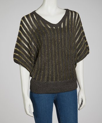 Gray & Gold Sheer Knit Dolman Top