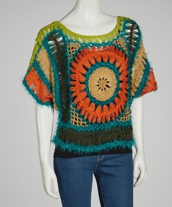 Green & Orange Sheer Crocheted Wool-Blend Dolman Top