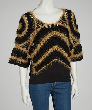 Black & Camel Sheer Crocheted Wool-Blend Top