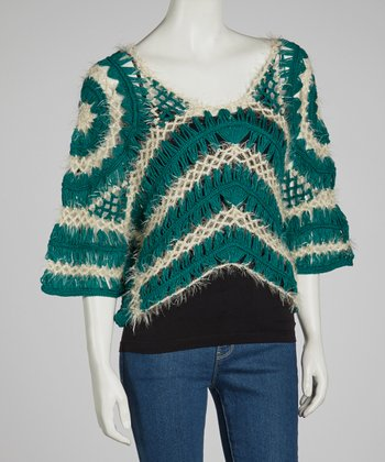 Green & Ivory Sheer Crocheted Wool-Blend Top