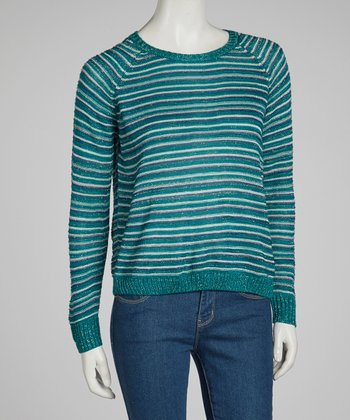 Green & Silver Stripe Sweater