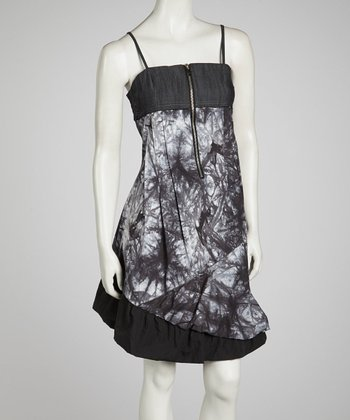 Black Tie-Dye Sleeveless Dress