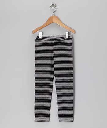 Black & Gray Stripe Organic Leggings - Toddler