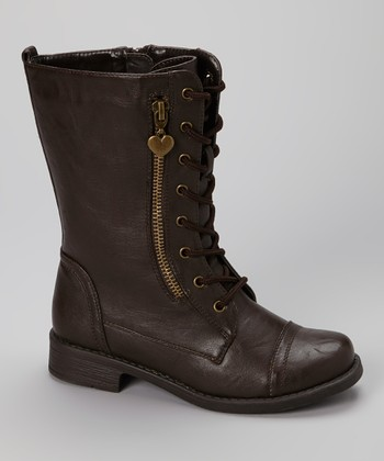 Brown Zip Moto Boot