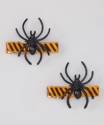 Orange & Black Spider Clip Set