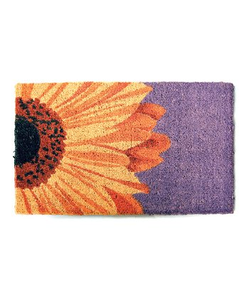 Yellow & Purple Sunflower Handwoven Doormat