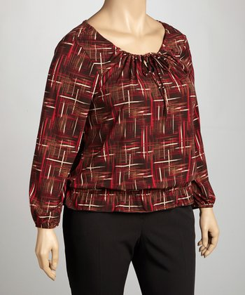 Red & Brown Abstract Peasant Top - Plus