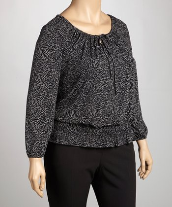 Black & Gray Abstract Peasant Top - Plus