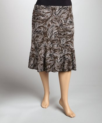 White & Brown Abstract Pull-On Skirt - Plus