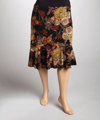 Black & Rust Floral Pull-On Skirt - Plus