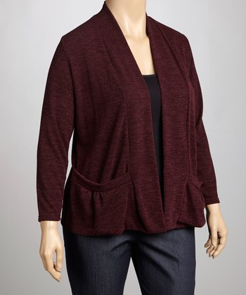 Aubergine Knit Open Cardigan - Plus