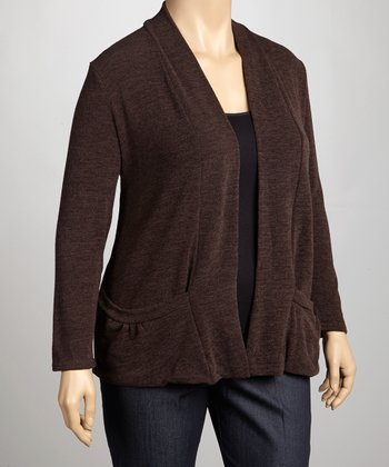 Brown Knit Open Cardigan - Plus