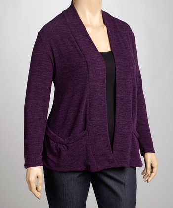 Plum Knit Open Cardigan - Plus