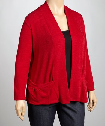 Red Knit Open Cardigan - Plus